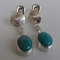 Turquoise and silver long earrings post and scroll stud