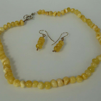 Baltic Amber yellow nuggets silver chain earrings set