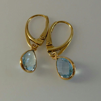Topaz Gold Vermeil lever back earrings Sky Blue