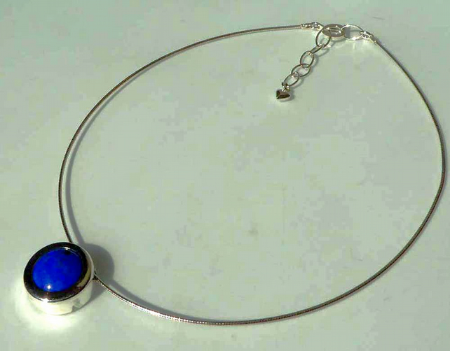 Blue Lapis Lazuli silver slider pendant choice of silver chains