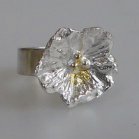Silver flower ring wide band size P