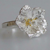 Silver flower ring narrow band size O