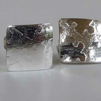 Silver post & scroll stud earrings small squares minimalist contemporary