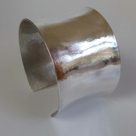 Wide sterling silver cuff embossed hallmarked