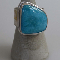 Blue Nacozari Turquoise wide band ring size P