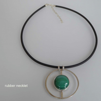 Green Malachite silver pendant choice of silver snake,cable or rubber necklet