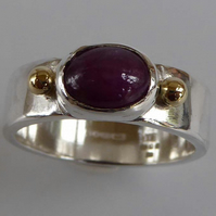 Ruby 18ct gold silver ring size P