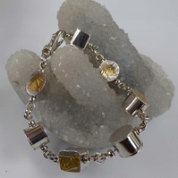 bracelet sterling silver 24ct gold hollow forms OOAK Free shipping UK