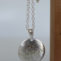 Silver and 18ct gold round pendant long chain necklace