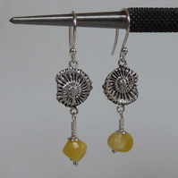 Silver and Baltic Amber Ammonite drop earrings