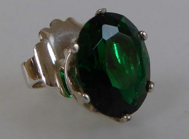 Emerald Argentium silver single earring stud post and scroll