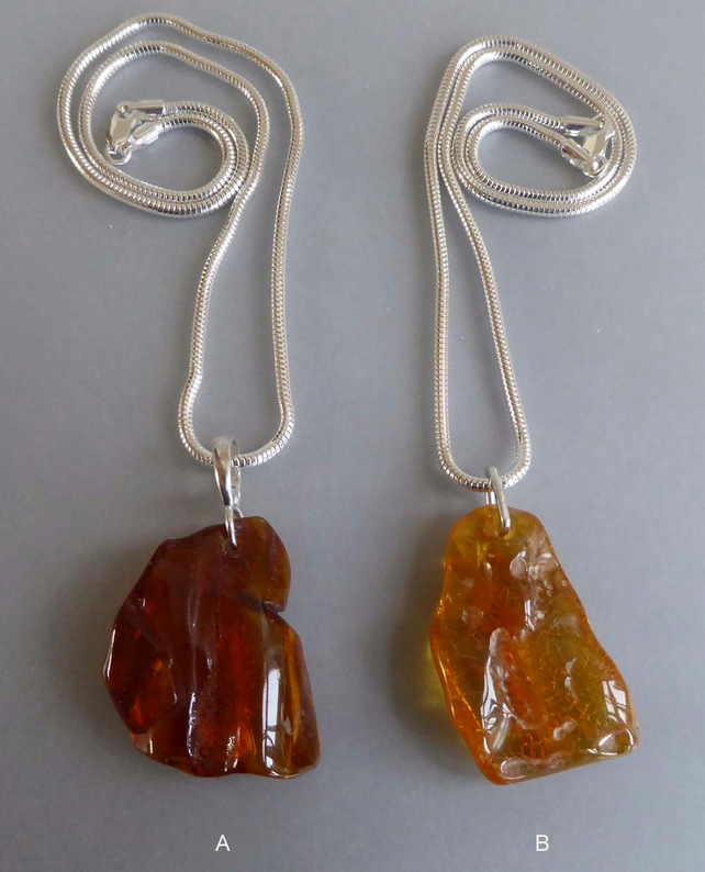 Natural Baltic Amber freeform shape silver snake chain