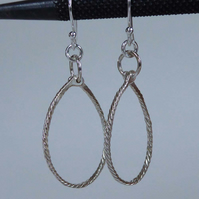 Sterling silver hoops on silver wires