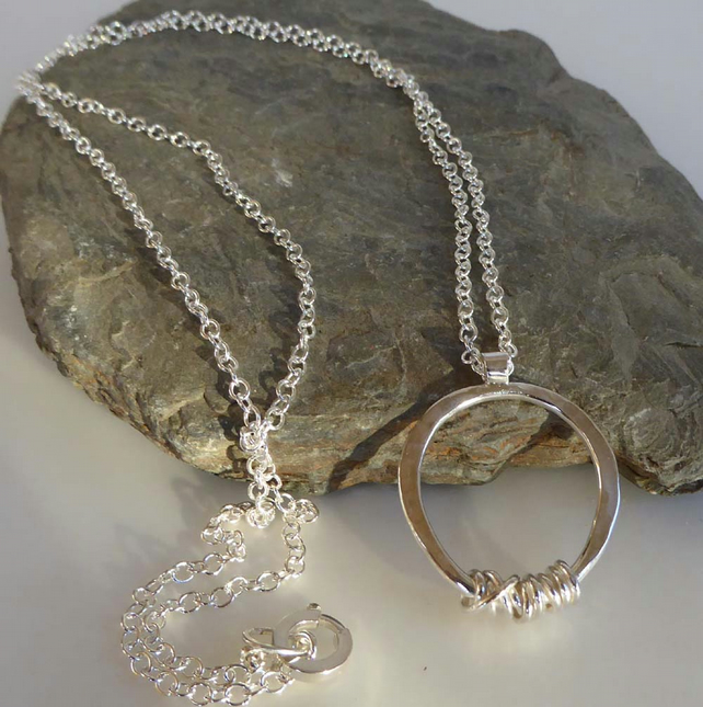 Sterling silver hammered round pendant long silver chain