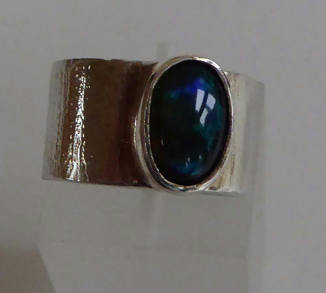 Black Welo Opal wide silver ring size K  OOAK ready to ship