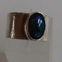 Black Welo Opal wide silver ring size M  OOAK ready to ship