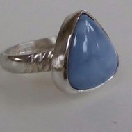 Blue Opal silver ring size R ready to ship