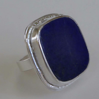 Lapis Lazuli silver ring statement ring OOAK size M