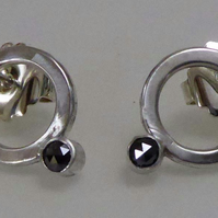 Black Diamond & silver post & scroll stud earrings minimalist gift for her