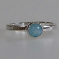 Blue Larimar silver ring stacking size P