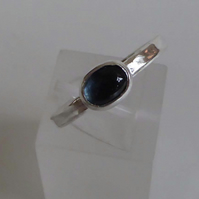 London blue Topaz set in silver size O stacking ring birthstone December