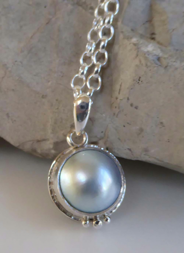 Blue Mabe Pearl pendant silver Belcher chain in choice of lengths