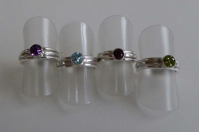 Gemstone stacking ring set Amethyst Topaz Garnet Peridot size J