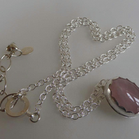 "Rose Quartz silver pendant 16-18"" chain Valentine romantic gift for her"