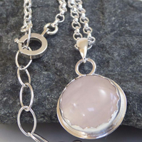 "Rose Quartz set in silver heavy silver chain 16"" - 18"" Valentine gift for her"