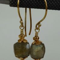 Labradorite gold vermeil dangle and drop earrings