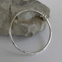 Forged round bangle sterling silver small medium hallmarked