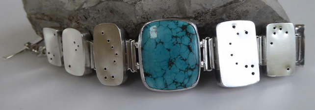 Silver hollowform Turquoise bracelet OOAK artisan boho s to med statement piece