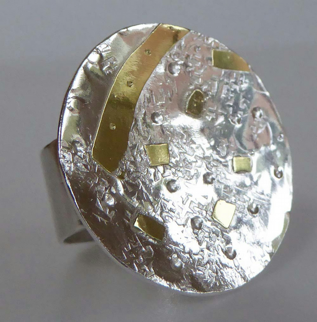 18ct gold and silver ring wide band ready to ship P statement ring