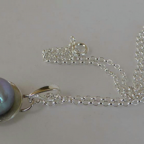 "Grey blue freshwater pearl pendant silver chain 16"" or 18"" bridal wedding"