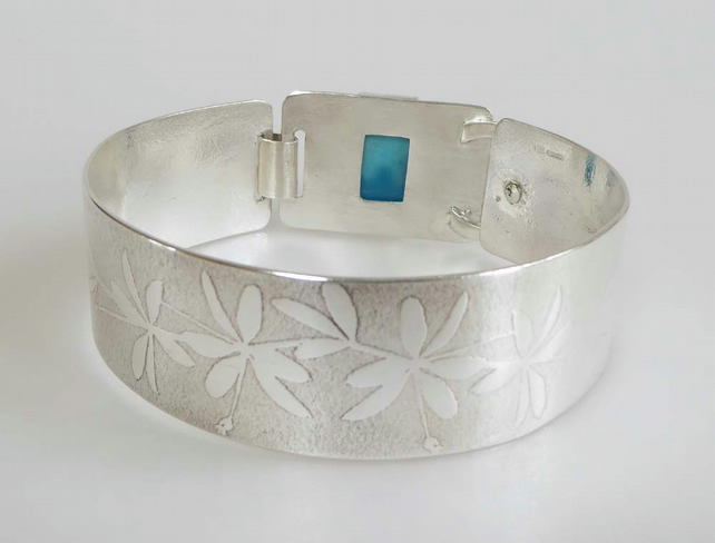 Silver cuff bracelet embossed flowers Turquoise OOAK small to medium