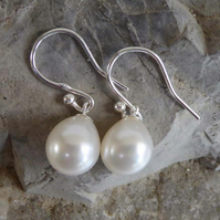 Freshwater white pearl earrings on silver simple and elegant
