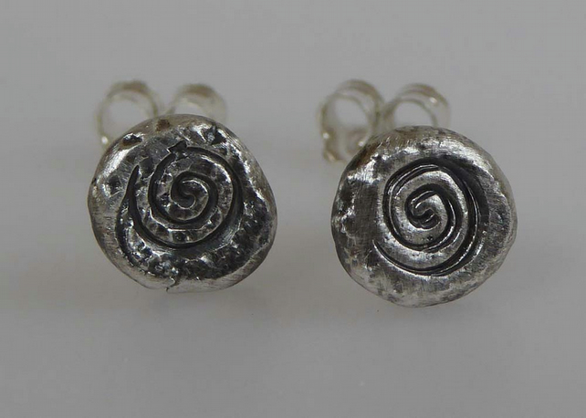 Fine silver post and scroll 'Ammonite' earrings studs