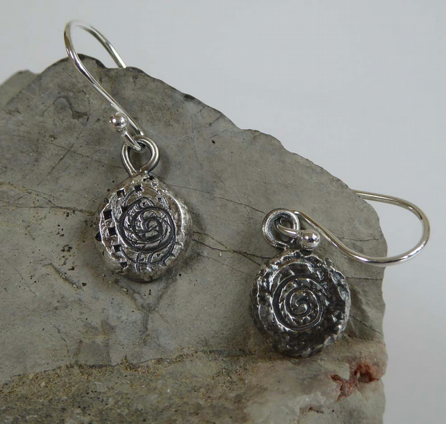 Fine silver Ammonite earrings dangle and drop