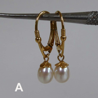 Silver and gold vermeil freshwater pearl earrings