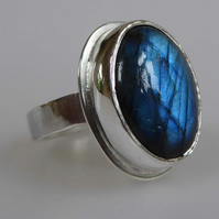 Blue flash Labradorite silver ring size Q ready to ship