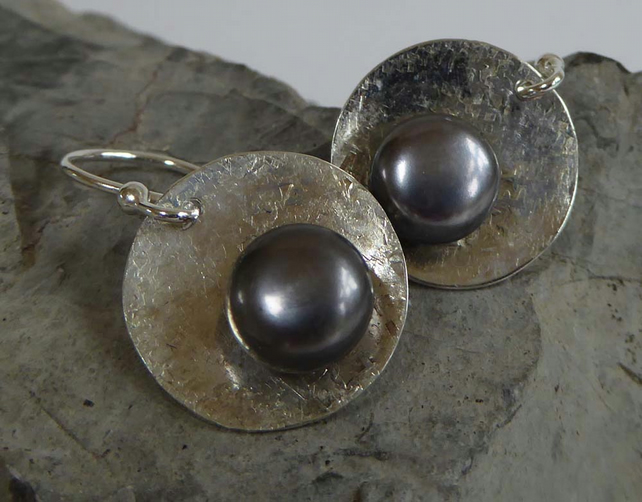 Grey Freshwater Pearl silver earrings cz on back