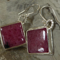 Pink Rhodonite gemstone and silver earrings