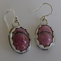 Pink Rhodonite silver earrings dangle and drop