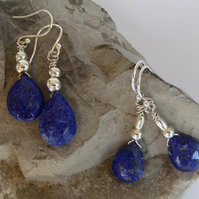 Lapis and silver dangle and drop earrings