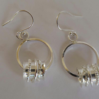 Silver dangle hoop earrings boho handmade artisan