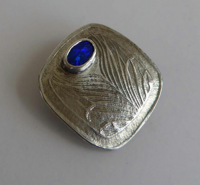 Australian blue Opal silver brooch pin feather design