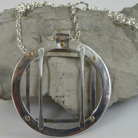"Forged silver pendant 9ct gold rivets 32"" silver chain OOAK long chain"