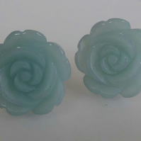 Green Aventurine carved flower earrings silver post and scroll studs
