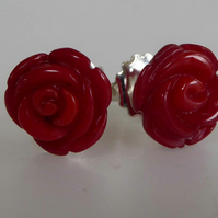 Red bamboo coral sterling silver post and scroll stud earrings