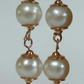 Long rose gold silver freshwater pearl earrings elegant bridal